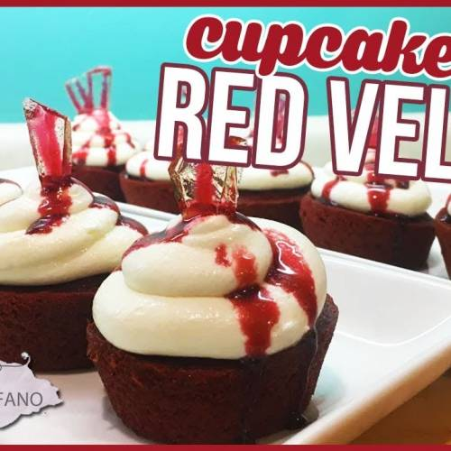 CUPCAKE RED VELVET | COBERTURA DE CREAM CHEESE | SANGUE E VIDRO FAKE | HALLOWEEN